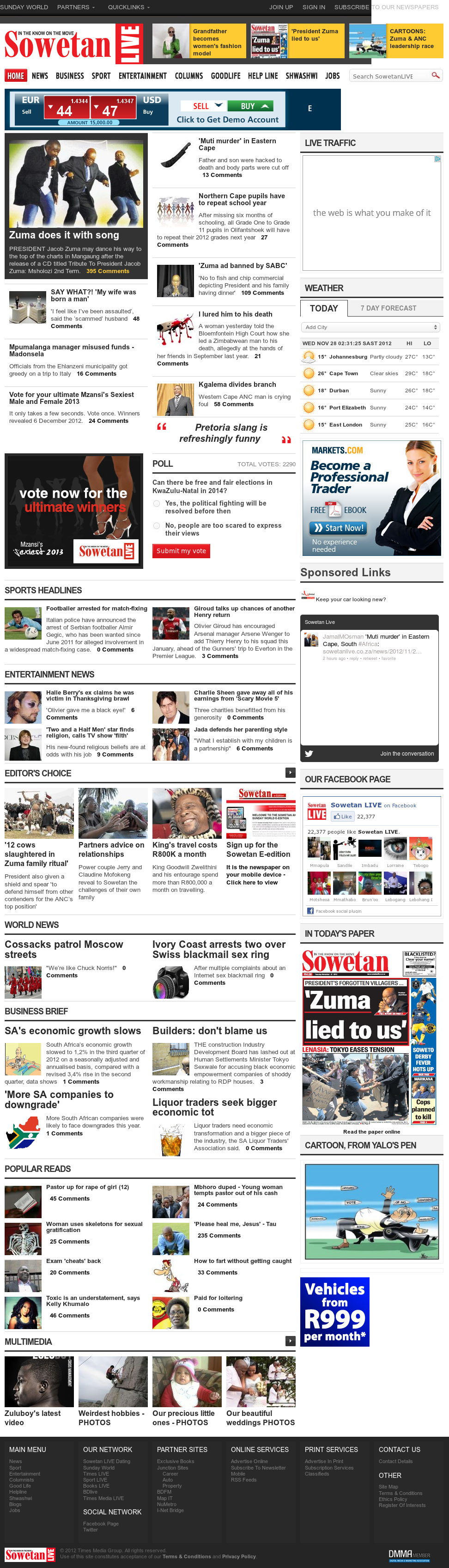 Sowetan Live at Wednesday Nov. 28, 2012, 1:33 a.m. UTC