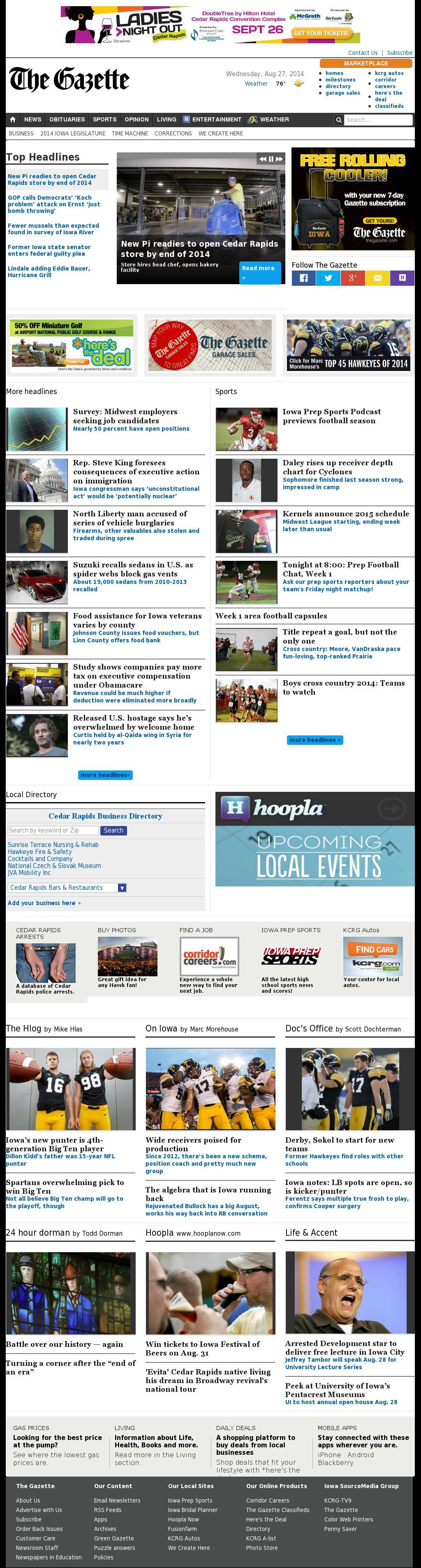 The (Cedar Rapids) Gazette at Wednesday Aug. 27, 2014, 10:06 p.m. UTC