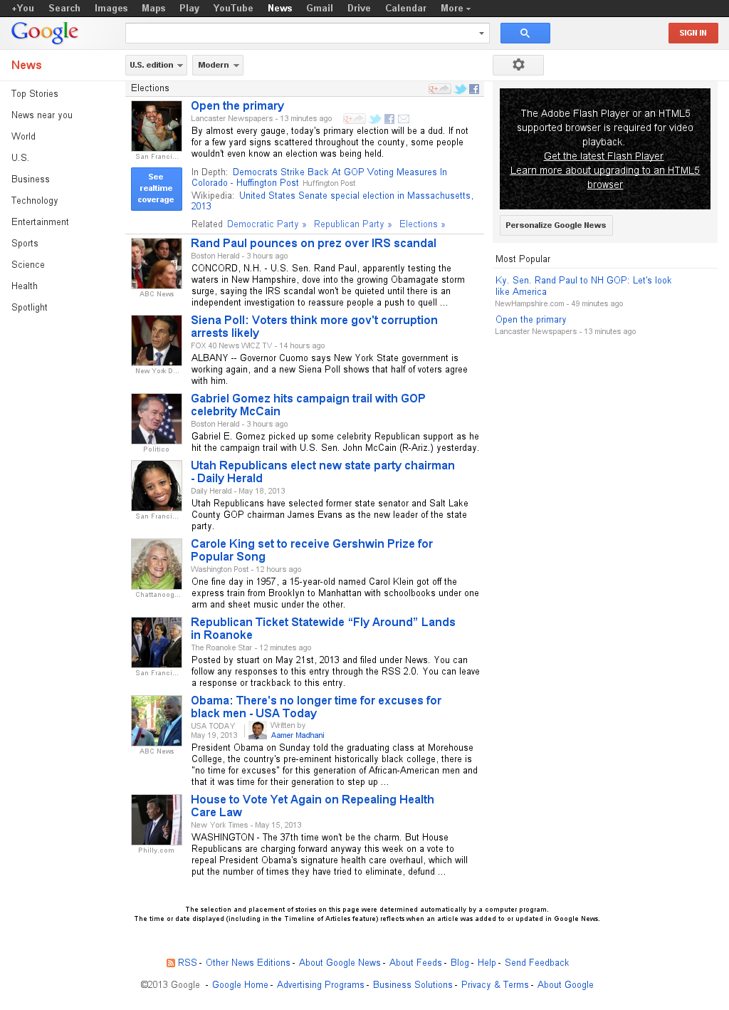 Google News: Elections at Tuesday May 21, 2013, 1:08 p.m. UTC