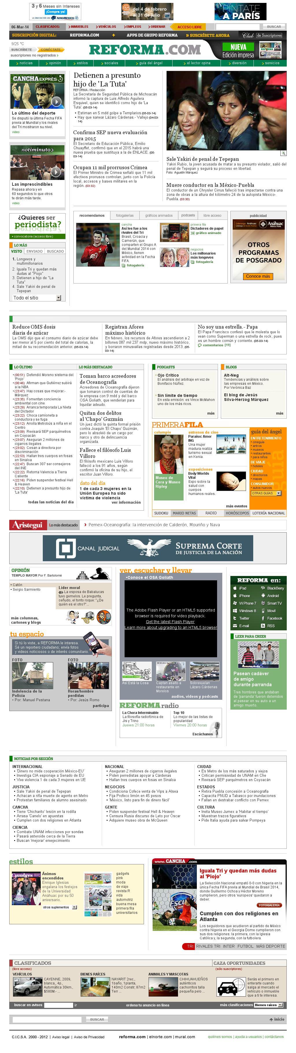 Reforma.com at Thursday March 6, 2014, 10:20 a.m. UTC
