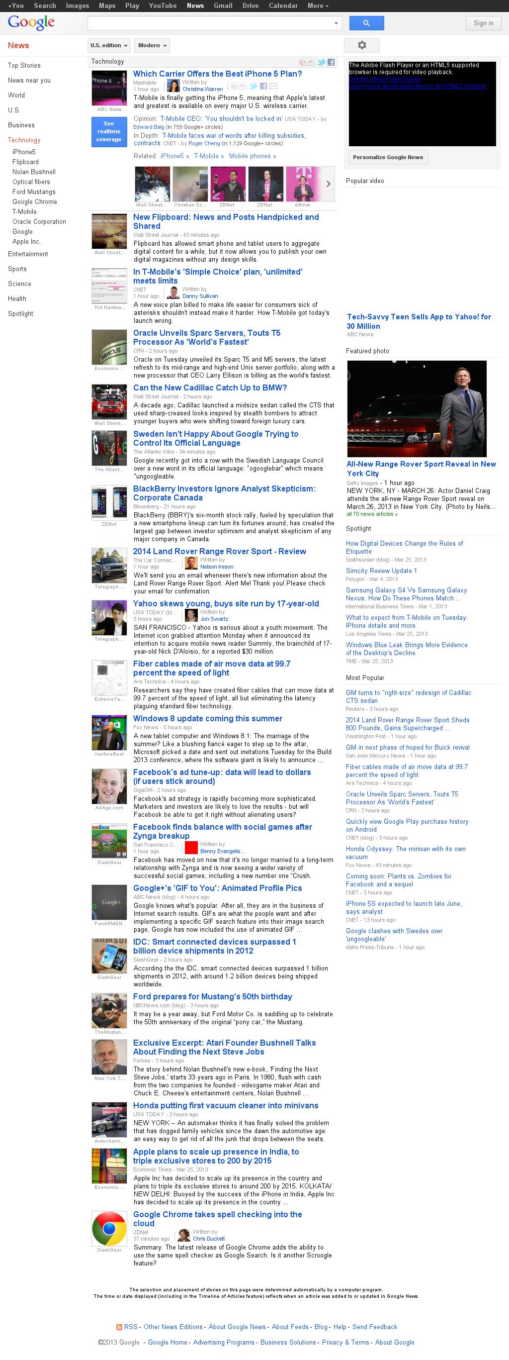 Google News: Technology at Wednesday March 27, 2013, 2:08 a.m. UTC