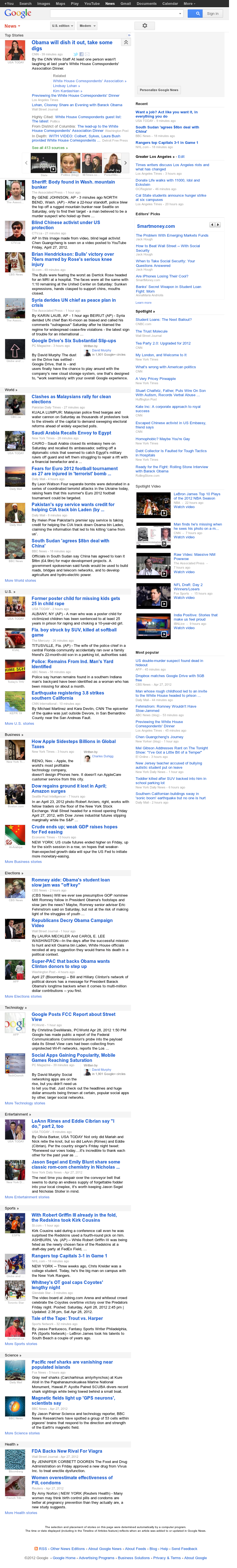 Google News at Saturday April 28, 2012, 10:09 p.m. UTC
