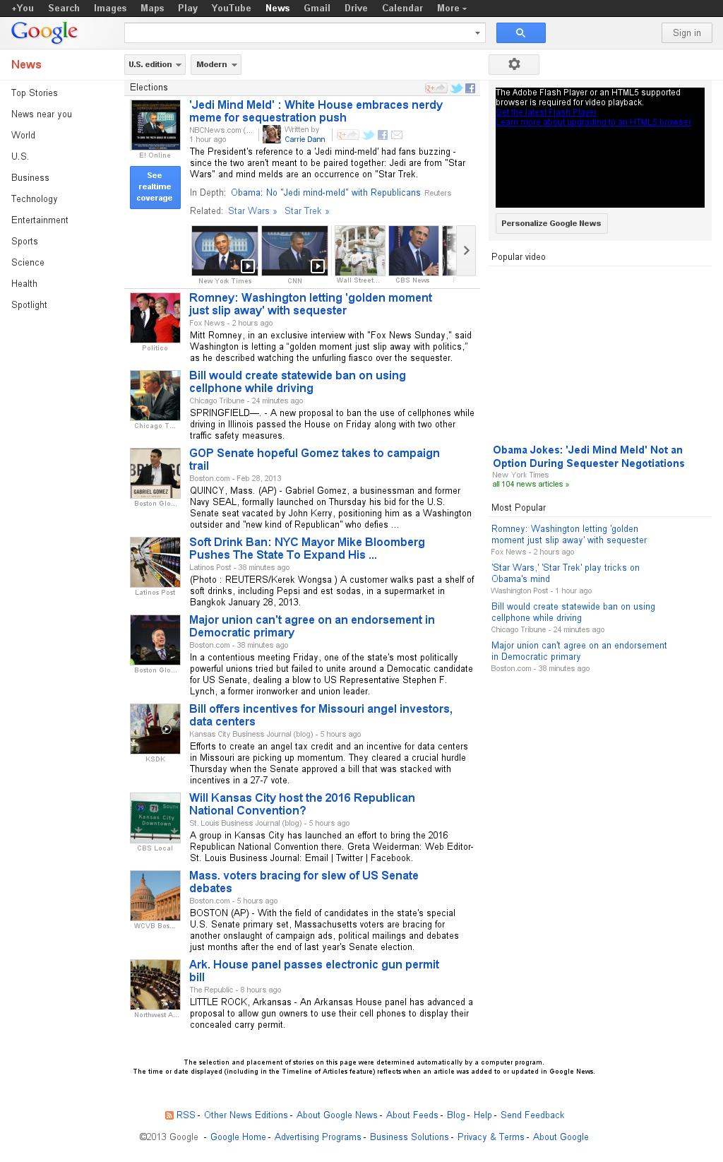 Google News: Elections at Saturday March 2, 2013, 2:08 a.m. UTC