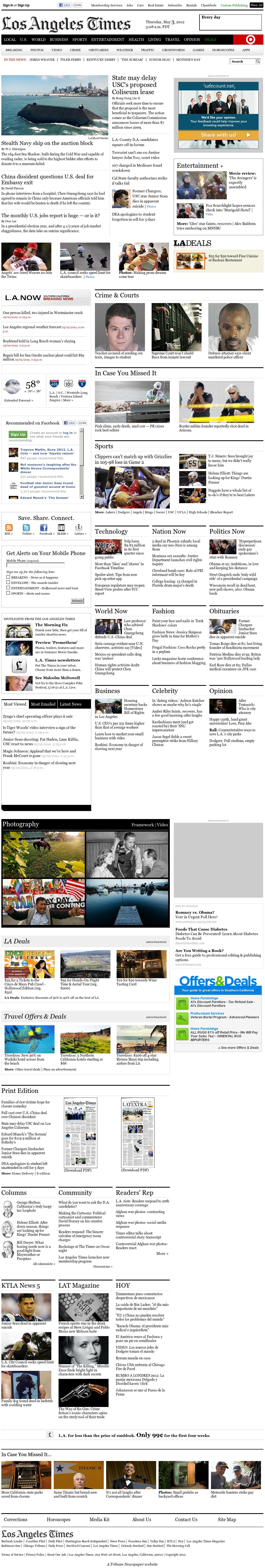 Los Angeles Times at Thursday May 3, 2012, 10:08 a.m. UTC