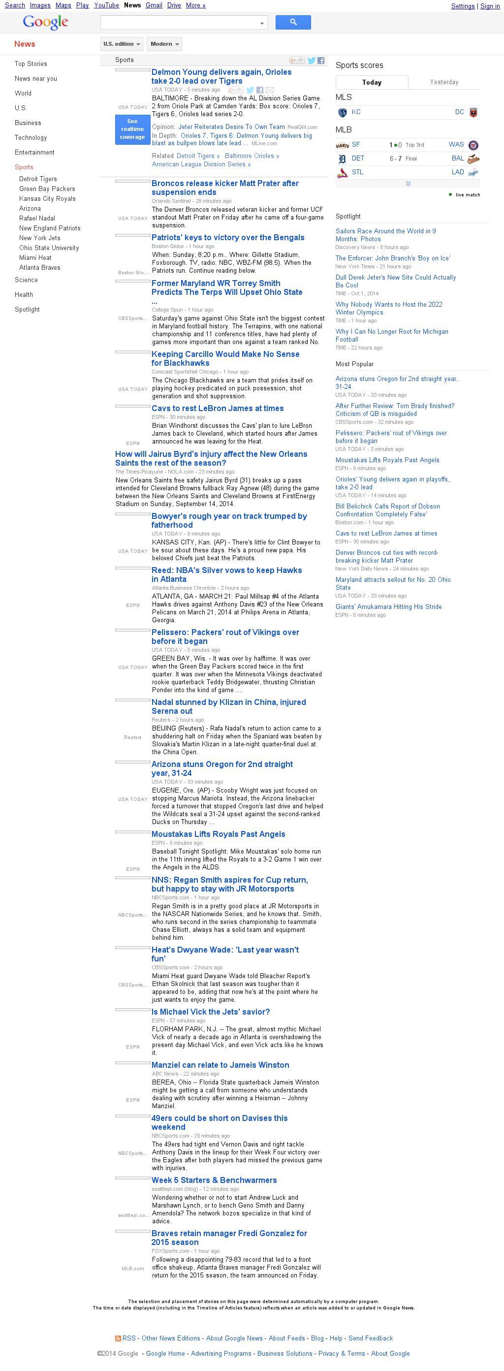 Google News: Sports at Friday Oct. 3, 2014, 8:07 p.m. UTC