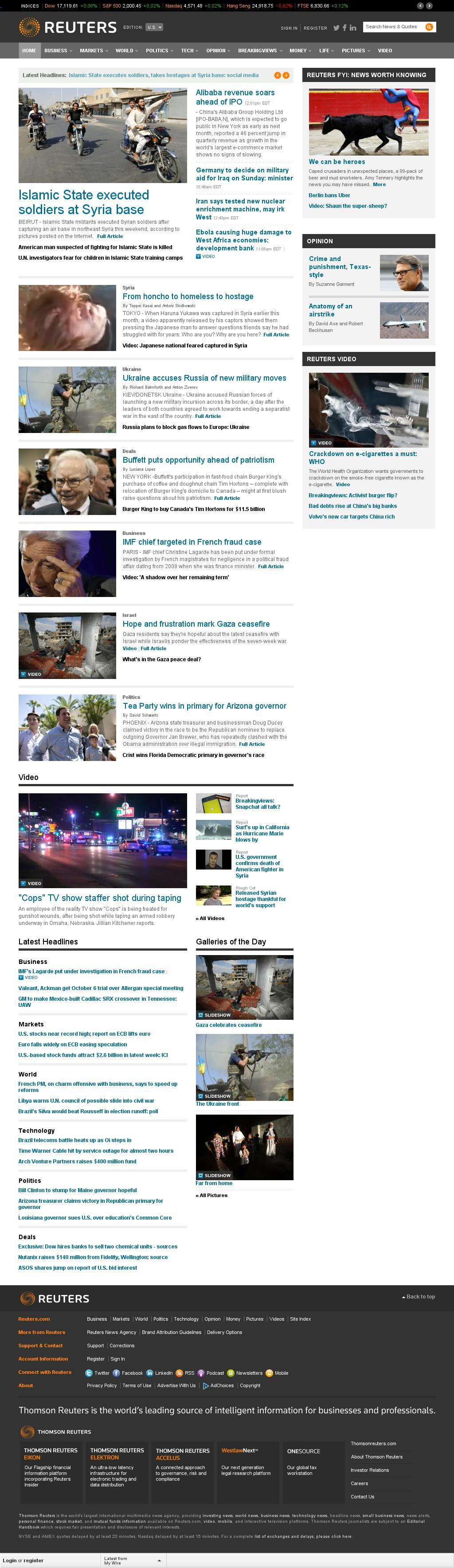 Reuters at Wednesday Aug. 27, 2014, 5:14 p.m. UTC