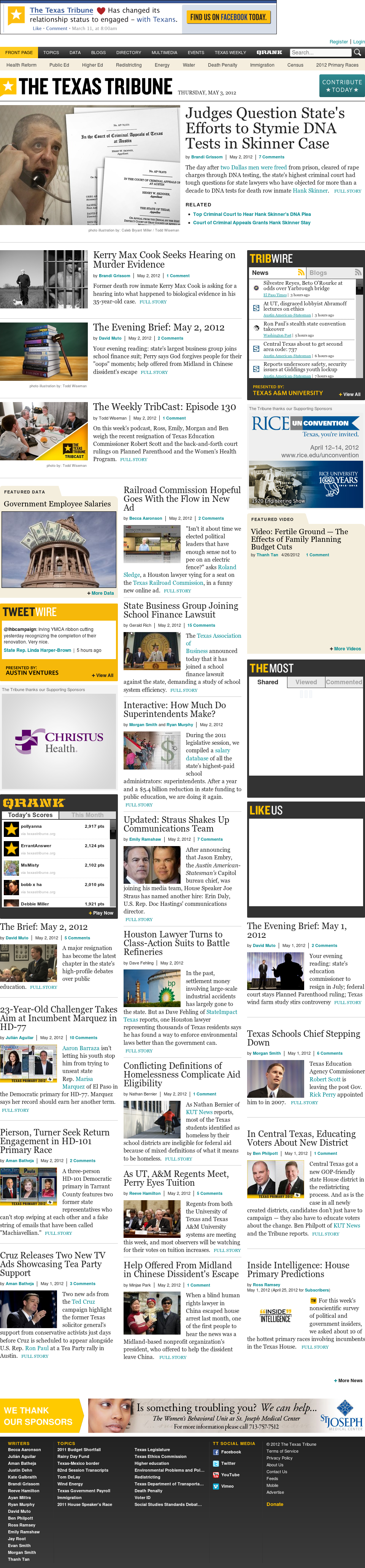 The Texas Tribune at Thursday May 3, 2012, 10:13 a.m. UTC