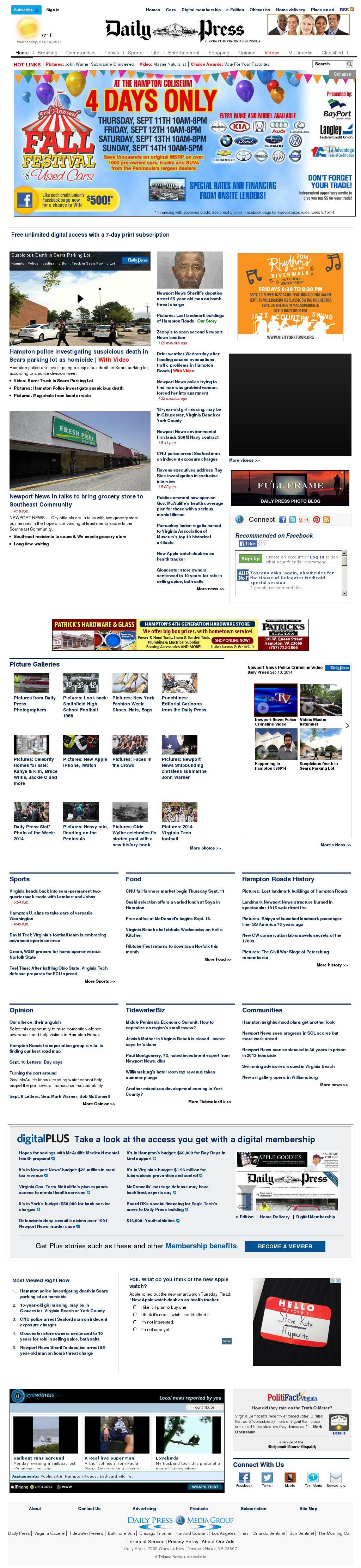 (Hampton Roads) Daily Press at Wednesday Sept. 10, 2014, 11:05 p.m. UTC