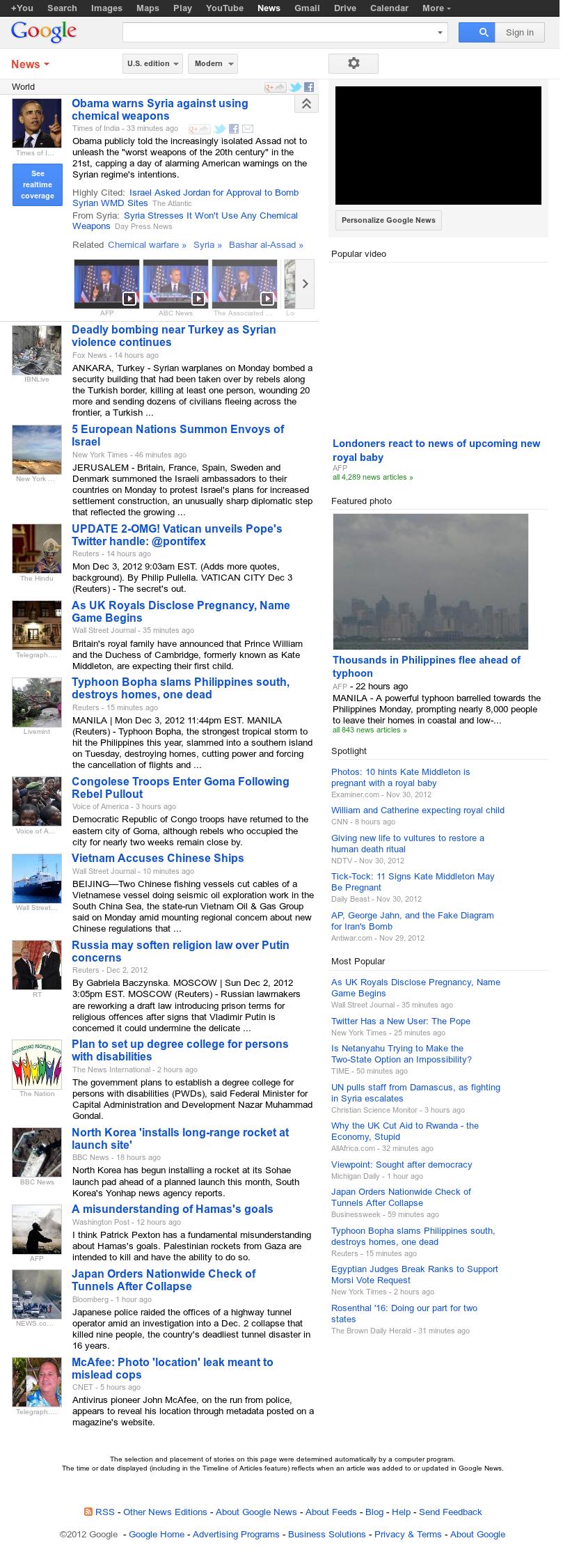 Google News: World at Tuesday Dec. 4, 2012, 5:14 a.m. UTC
